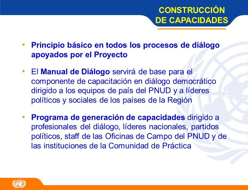 Principio básico en todos los procesos de diálogo apoyados por el Proyecto El Manual de Diálogo servirá de base para el componente de capacitación en