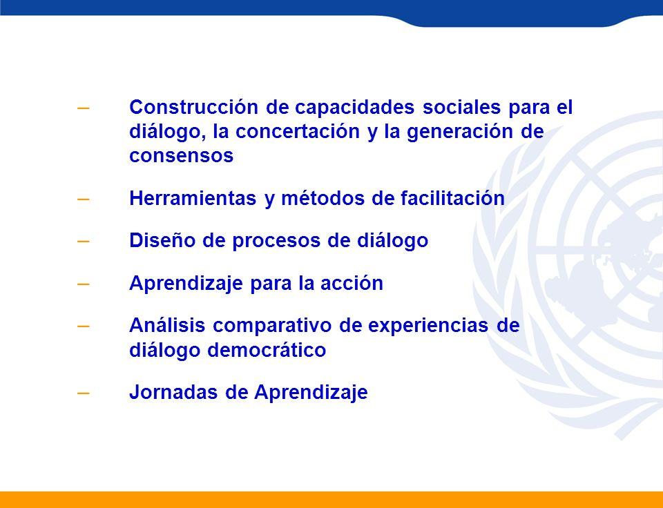 – Construcción de capacidades sociales para el diálogo, la concertación y la generación de consensos – Herramientas y métodos de facilitación – Diseño