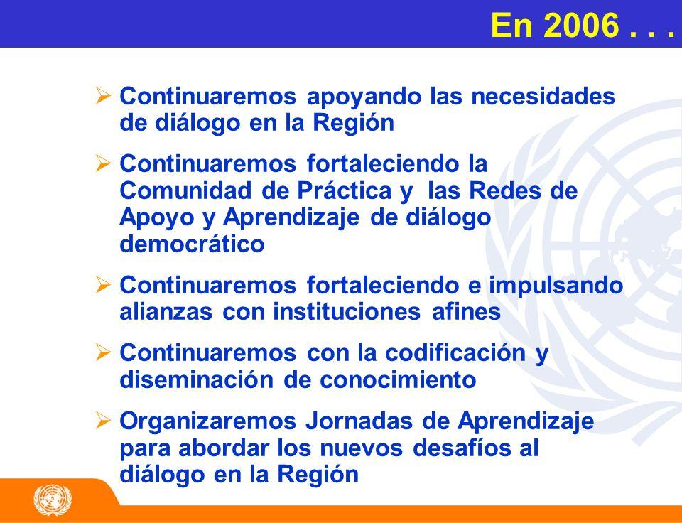 En 2006... Continuaremos apoyando las necesidades de diálogo en la Región Continuaremos fortaleciendo la Comunidad de Práctica y las Redes de Apoyo y