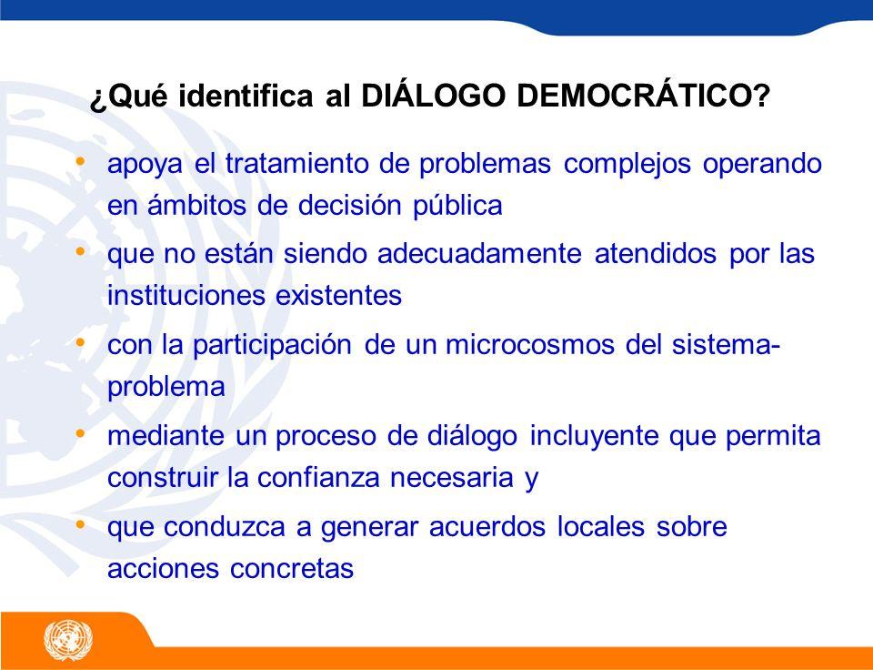 El Proyecto Regional de Diálogo Democrático fue establecido en 2001 por medio de DRALC Sede en Guatemala Constituye un instrumento activo de servicio a los esfuerzos de diálogo promovidos por las oficinas de campo de América Latina y el Caribe Ampliándose a nivel global