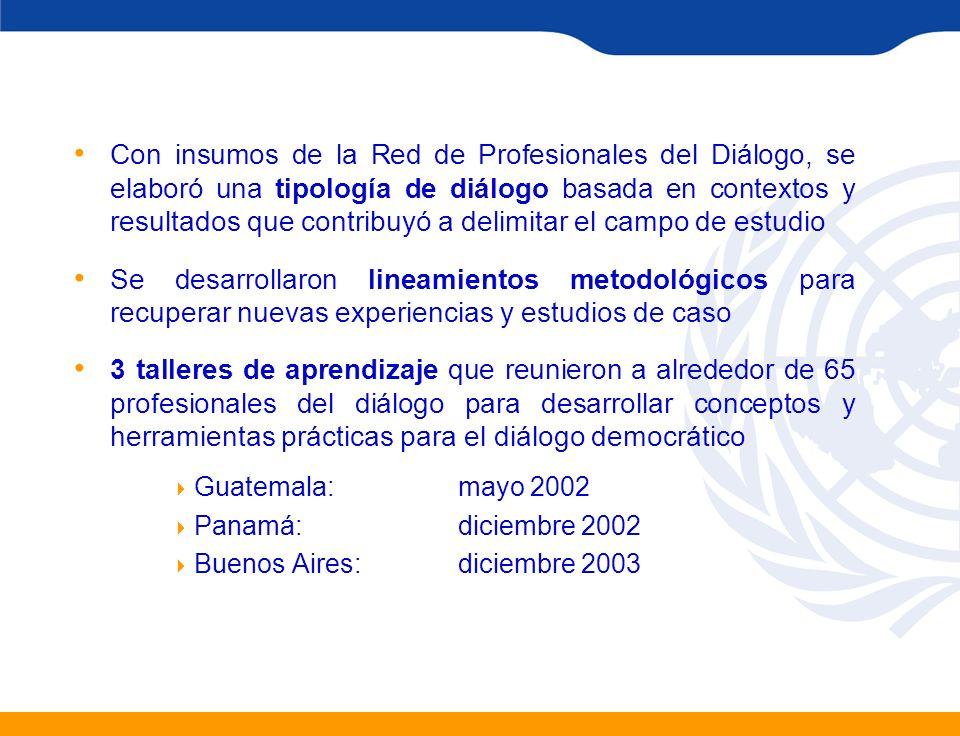 Con insumos de la Red de Profesionales del Diálogo, se elaboró una tipología de diálogo basada en contextos y resultados que contribuyó a delimitar el