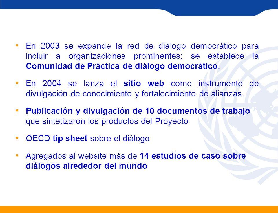 En 2003 se expande la red de diálogo democrático para incluir a organizaciones prominentes: se establece la Comunidad de Práctica de diálogo democráti