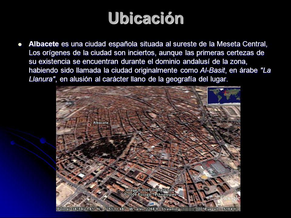 Ubicación Albacete es una ciudad española situada al sureste de la Meseta Central, Los orígenes de la ciudad son inciertos, aunque las primeras certez