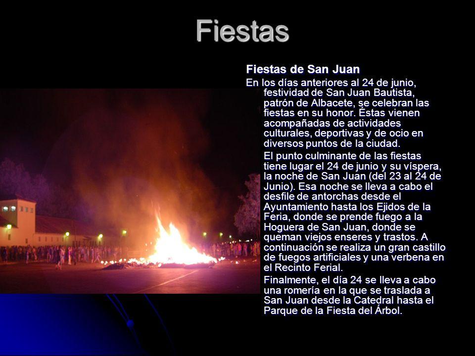 Fiestas Fiestas de San Juan En los días anteriores al 24 de junio, festividad de San Juan Bautista, patrón de Albacete, se celebran las fiestas en su