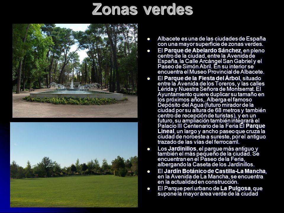 Zonas verdes Albacete es una de las ciudades de España con una mayor superficie de zonas verdes. Albacete es una de las ciudades de España con una may