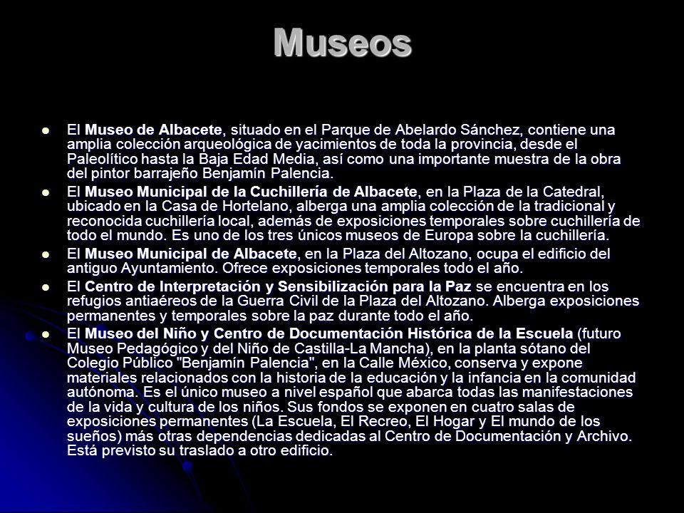 Museos El Museo de Albacete, situado en el Parque de Abelardo Sánchez, contiene una amplia colección arqueológica de yacimientos de toda la provincia,