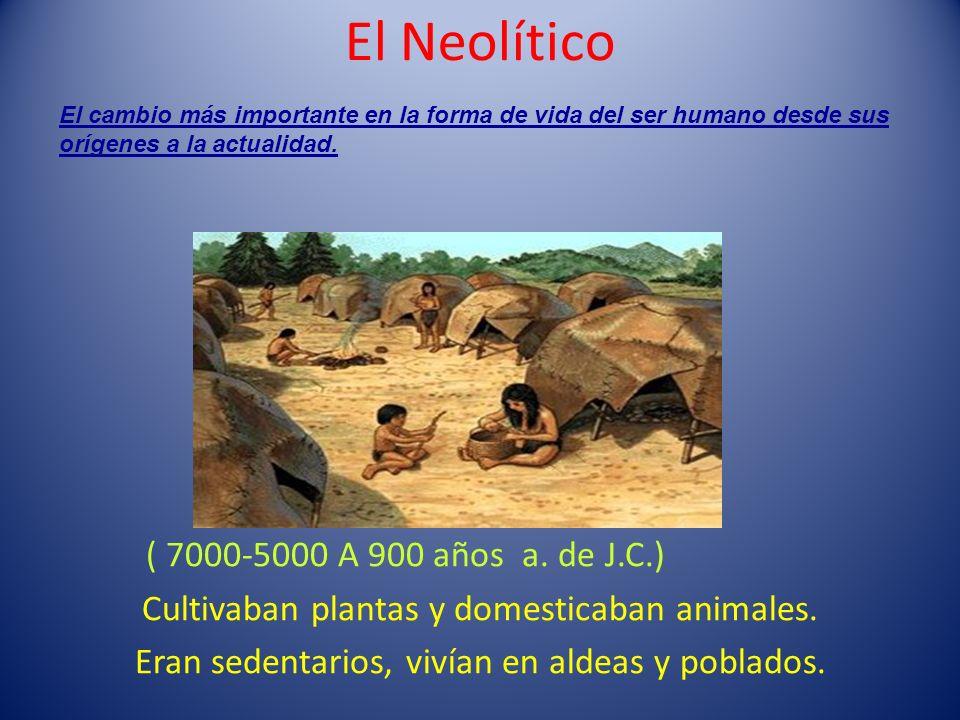 El Neolítico ( 7000-5000 A 900 años a. de J.C.) Cultivaban plantas y domesticaban animales. Eran sedentarios, vivían en aldeas y poblados. El cambio m