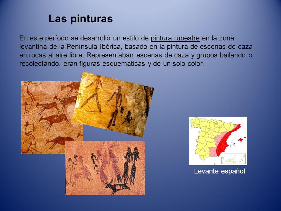 Las pinturas En este período se desarrolló un estilo de pintura rupestre en la zona levantina de la Península Ibérica, basado en la pintura de escenas