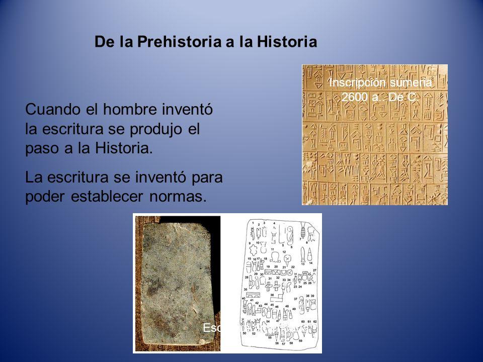 De la Prehistoria a la Historia Cuando el hombre inventó la escritura se produjo el paso a la Historia. La escritura se inventó para poder establecer