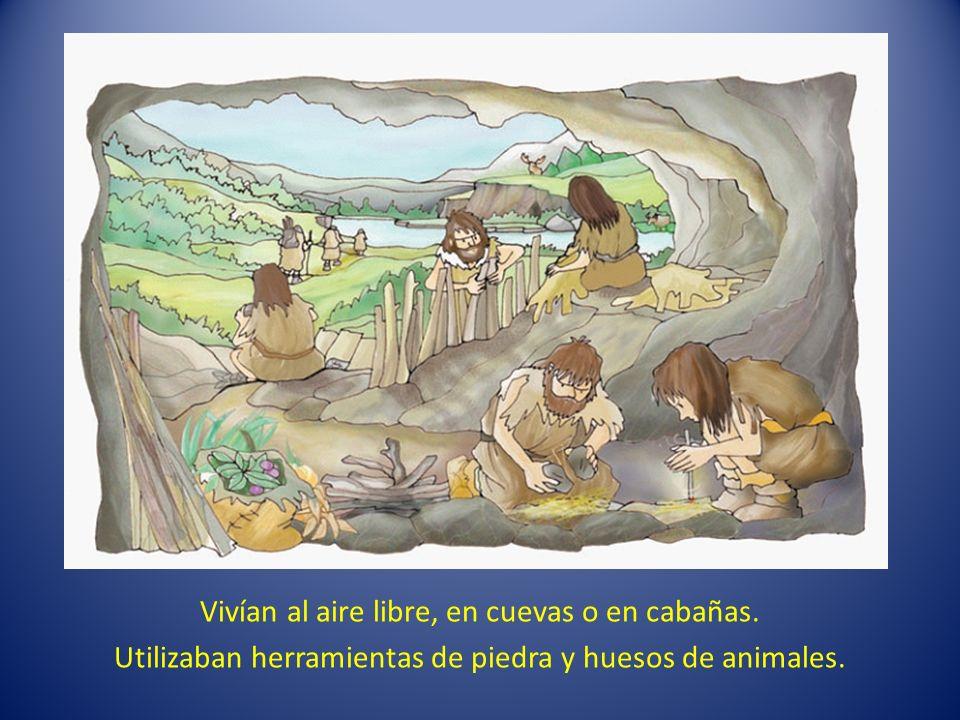 Vivían al aire libre, en cuevas o en cabañas. Utilizaban herramientas de piedra y huesos de animales.
