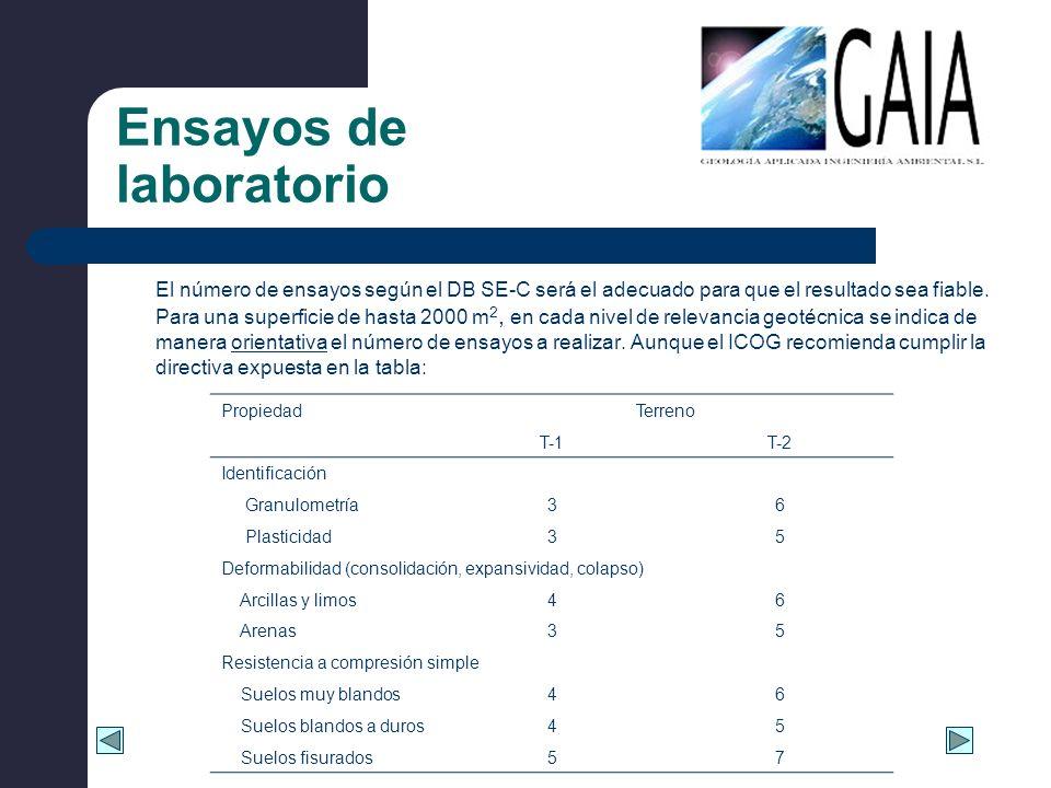 Ensayos de laboratorio El número de ensayos según el DB SE-C será el adecuado para que el resultado sea fiable. Para una superficie de hasta 2000 m 2,