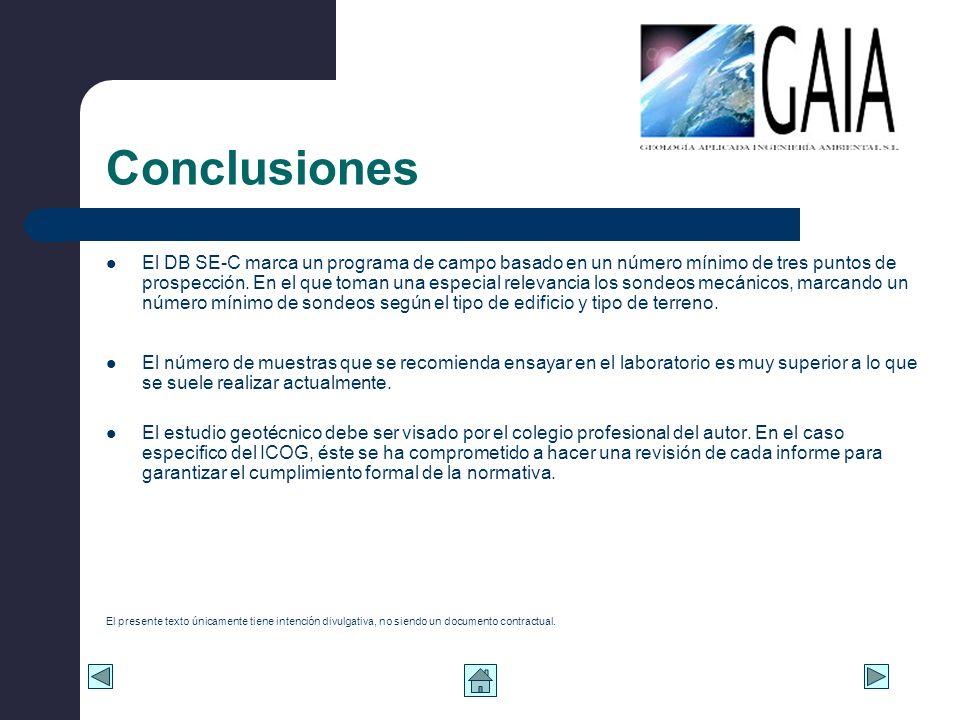 Conclusiones El DB SE-C marca un programa de campo basado en un número mínimo de tres puntos de prospección. En el que toman una especial relevancia l