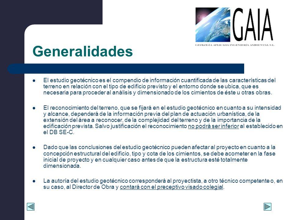 Generalidades El estudio geotécnico es el compendio de información cuantificada de las características del terreno en relación con el tipo de edificio