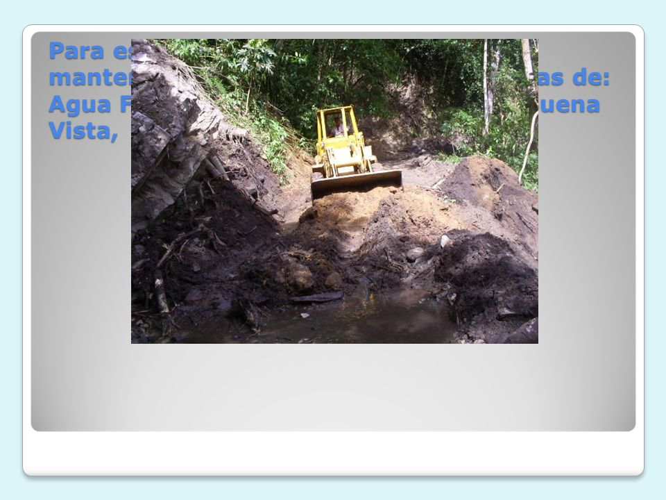 Para este mismo periodo se realizaron mantenimiento en las vías de las veredas de: Agua Fría, agua caliente, Monserrate, Buena Vista, Arenoso entre otras.