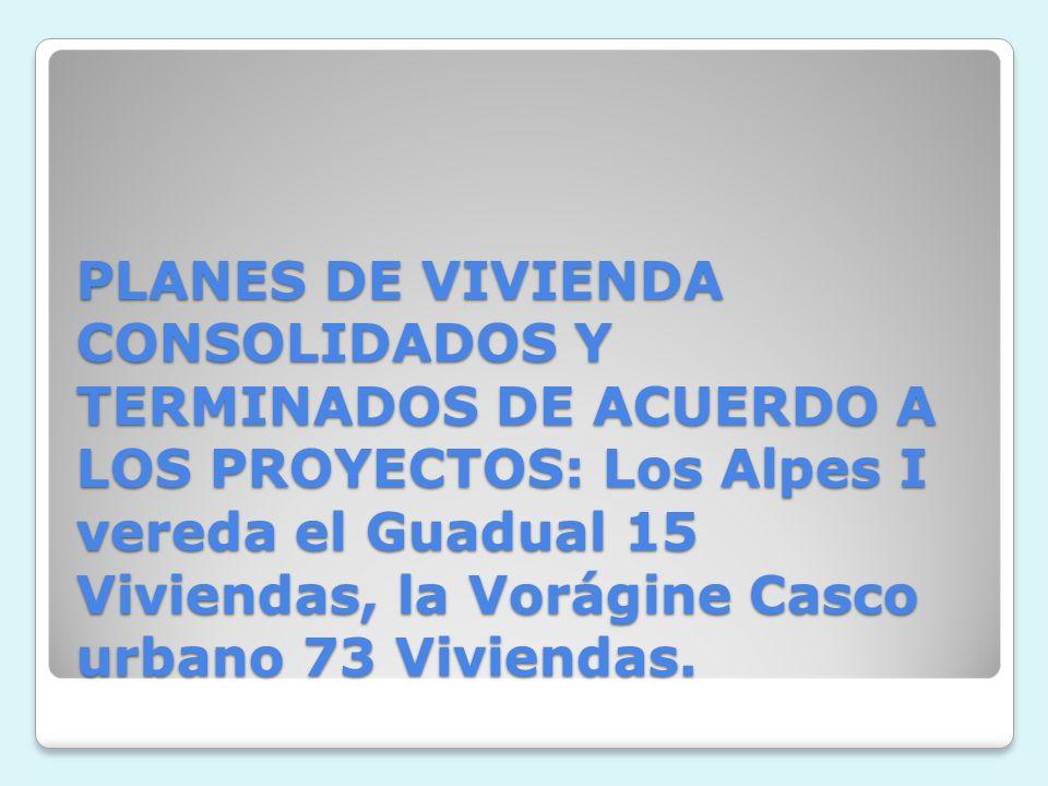 PLANES DE VIVIENDA CONSOLIDADOS Y TERMINADOS DE ACUERDO A LOS PROYECTOS: Los Alpes I vereda el Guadual 15 Viviendas, la Vorágine Casco urbano 73 Viviendas.