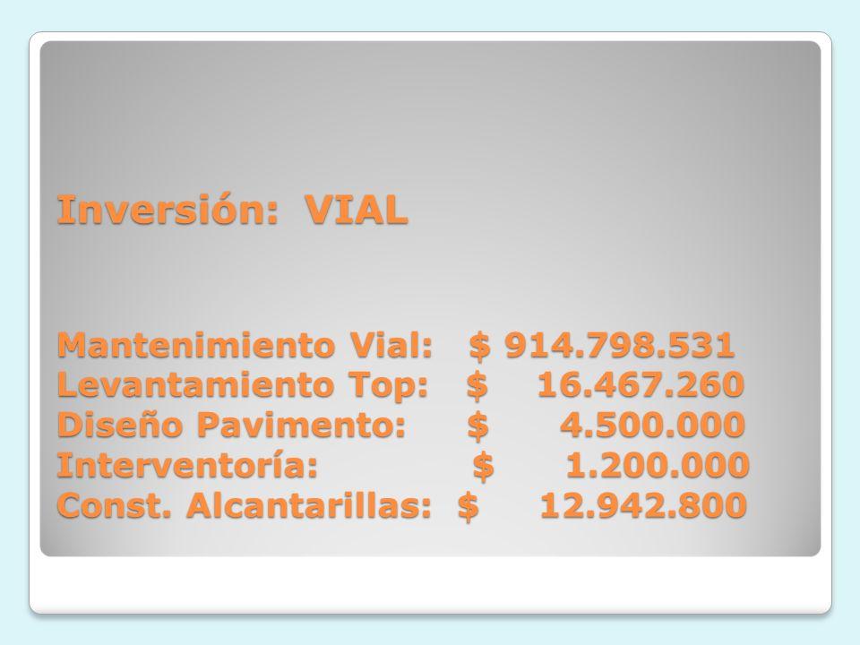 Inversión: VIAL Mantenimiento Vial: $ 914.798.531 Levantamiento Top: $ 16.467.260 Diseño Pavimento: $ 4.500.000 Interventoría: $ 1.200.000 Const.