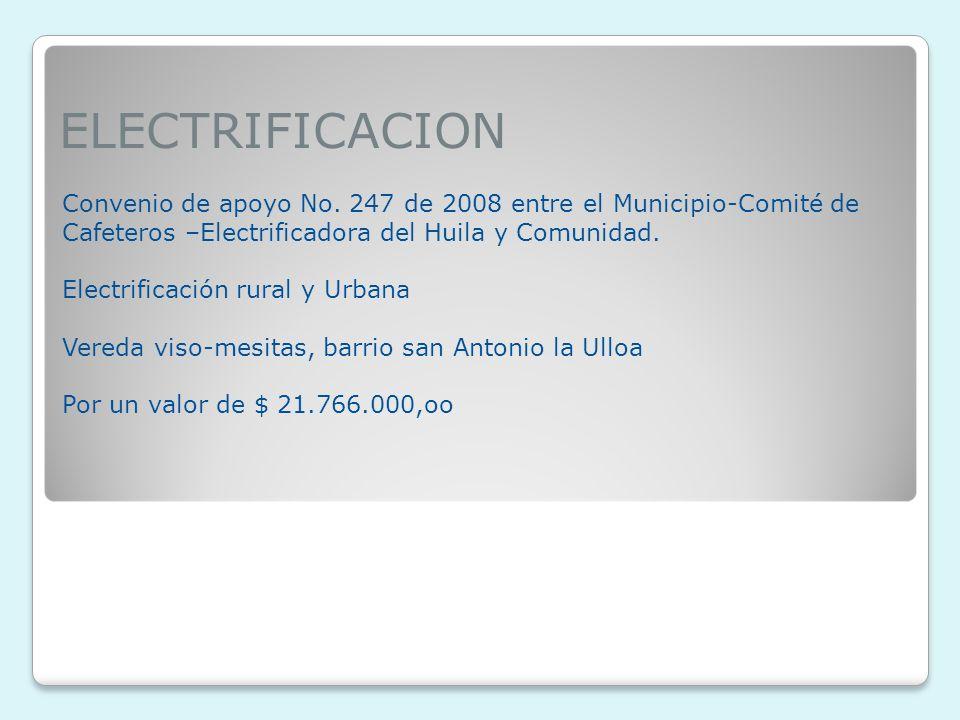 ELECTRIFICACION Convenio de apoyo No.