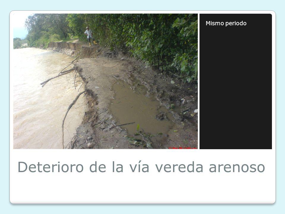 Deterioro de la vía vereda arenoso Mismo periodo
