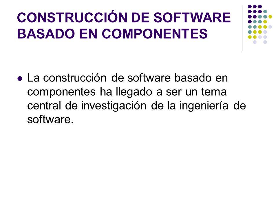 CONSTRUCCIÓN DE SOFTWARE BASADO EN COMPONENTES La construcción de software basado en componentes ha llegado a ser un tema central de investigación de la ingeniería de software.