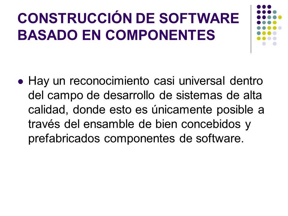 CONSTRUCCIÓN DE SOFTWARE BASADO EN COMPONENTES Hay un reconocimiento casi universal dentro del campo de desarrollo de sistemas de alta calidad, donde esto es únicamente posible a través del ensamble de bien concebidos y prefabricados componentes de software.