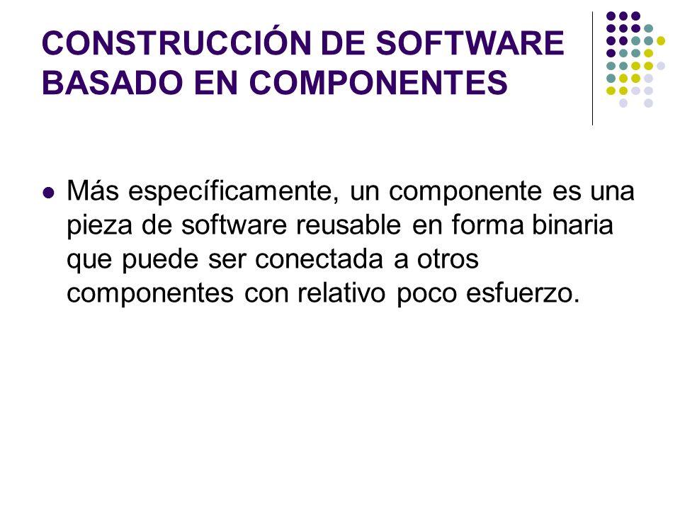 CONSTRUCCIÓN DE SOFTWARE BASADO EN COMPONENTES Más específicamente, un componente es una pieza de software reusable en forma binaria que puede ser conectada a otros componentes con relativo poco esfuerzo.