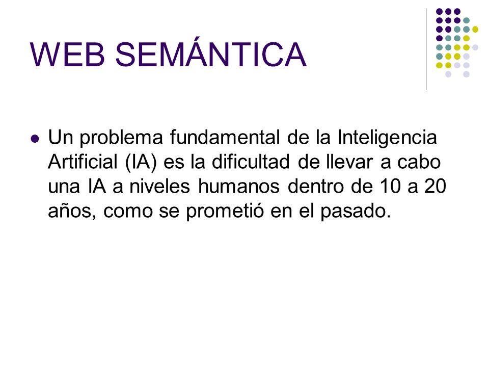 WEB SEMÁNTICA Un problema fundamental de la Inteligencia Artificial (IA) es la dificultad de llevar a cabo una IA a niveles humanos dentro de 10 a 20 años, como se prometió en el pasado.
