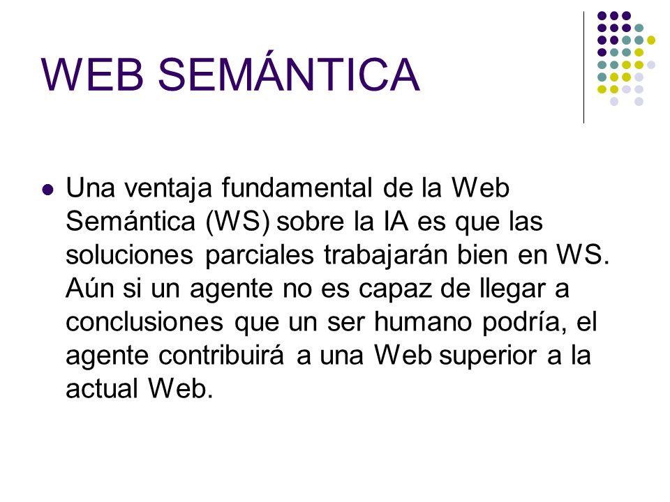 WEB SEMÁNTICA Una ventaja fundamental de la Web Semántica (WS) sobre la IA es que las soluciones parciales trabajarán bien en WS.