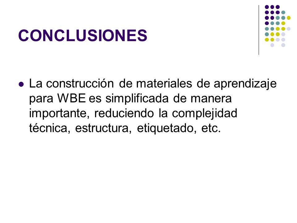 CONCLUSIONES La construcción de materiales de aprendizaje para WBE es simplificada de manera importante, reduciendo la complejidad técnica, estructura, etiquetado, etc.
