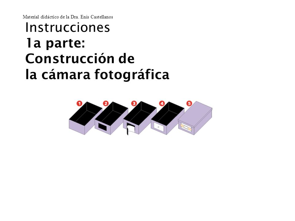 Instrucciones 1a parte: Construcción de la cámara fotográfica Material didáctico de la Dra. Enís Castellanos