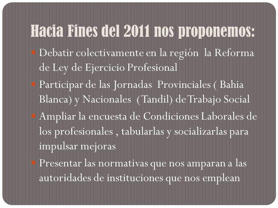 Debatir colectivamente en la región la Reforma de Ley de Ejercicio Profesional Participar de las Jornadas Provinciales ( Bahia Blanca) y Nacionales (