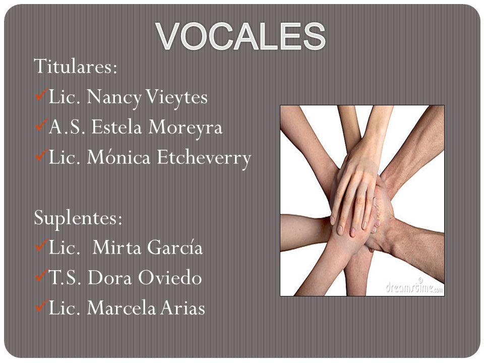 Titulares: Lic. Nancy Vieytes A.S. Estela Moreyra Lic. Mónica Etcheverry Suplentes: Lic. Mirta García T.S. Dora Oviedo Lic. Marcela Arias