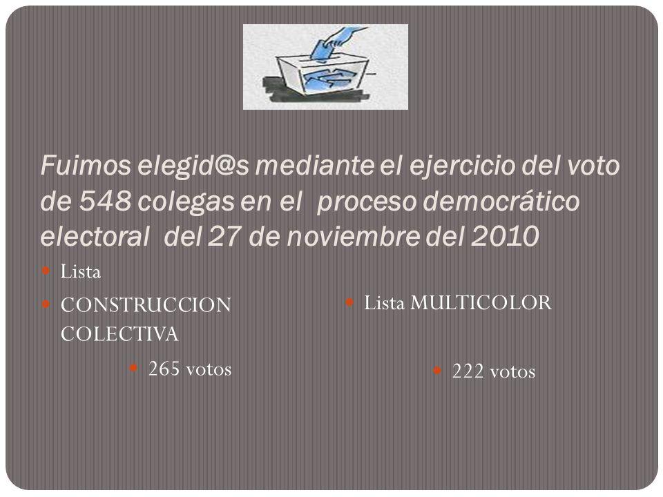 Fuimos elegid@s mediante el ejercicio del voto de 548 colegas en el proceso democrático electoral del 27 de noviembre del 2010 Lista CONSTRUCCION COLE