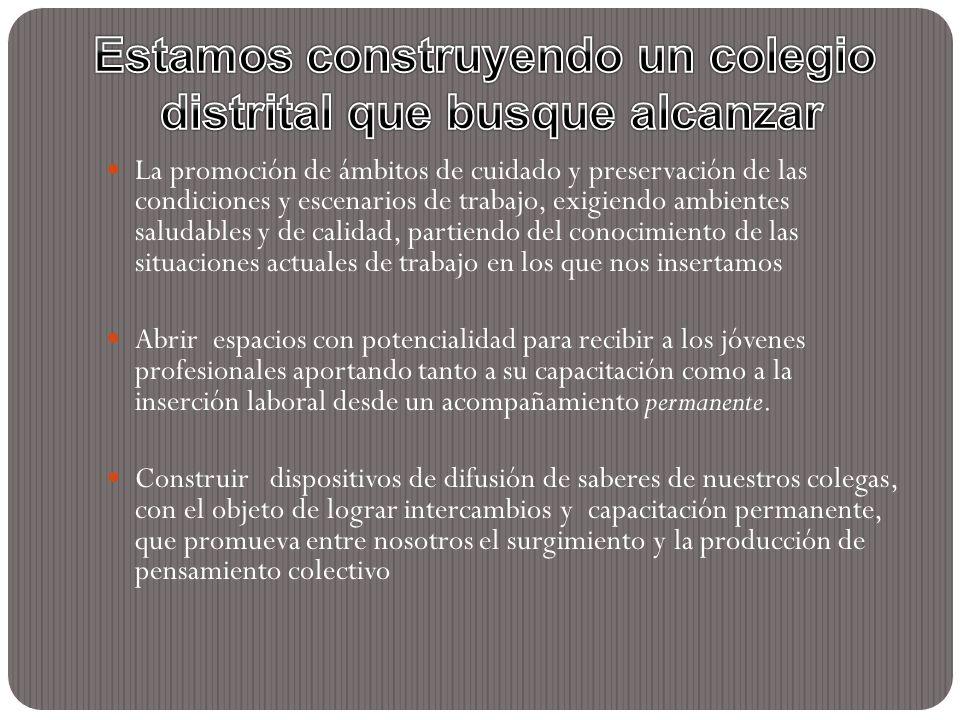 La promoción de ámbitos de cuidado y preservación de las condiciones y escenarios de trabajo, exigiendo ambientes saludables y de calidad, partiendo d
