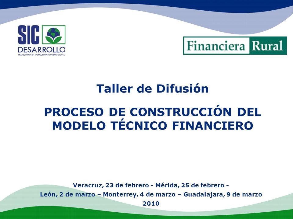 Taller de Difusión PROCESO DE CONSTRUCCIÓN DEL MODELO TÉCNICO FINANCIERO Veracruz, 23 de febrero - Mérida, 25 de febrero - León, 2 de marzo – Monterre