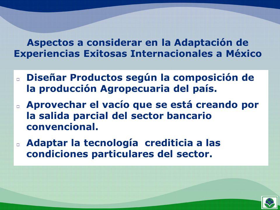 Aspectos a considerar en la Adaptación de Experiencias Exitosas Internacionales a México Diseñar Productos según la composición de la producción Agrop