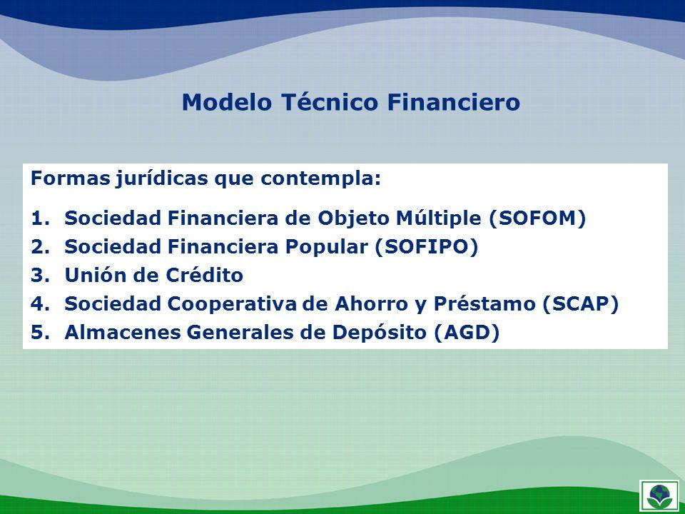 Modelo Técnico Financiero Formas jurídicas que contempla: 1.Sociedad Financiera de Objeto Múltiple (SOFOM) 2.Sociedad Financiera Popular (SOFIPO) 3.Un