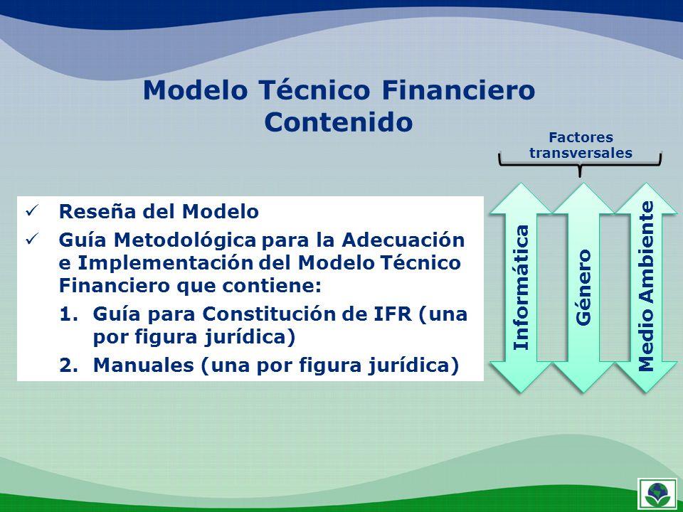 Modelo Técnico Financiero Contenido Reseña del Modelo Guía Metodológica para la Adecuación e Implementación del Modelo Técnico Financiero que contiene