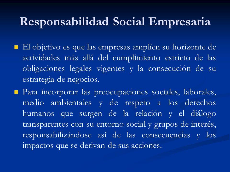 Responsabilidad Social Empresaria El objetivo es que las empresas amplíen su horizonte de actividades más allá del cumplimiento estricto de las obliga