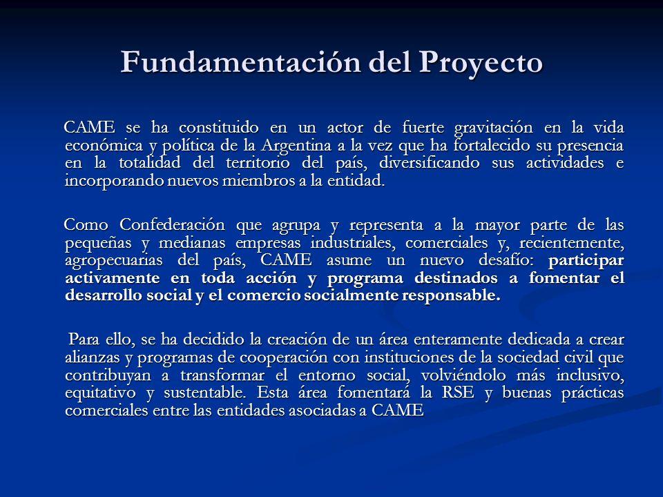 Fundamentación del Proyecto CAME se ha constituido en un actor de fuerte gravitación en la vida económica y política de la Argentina a la vez que ha fortalecido su presencia en la totalidad del territorio del país, diversificando sus actividades e incorporando nuevos miembros a la entidad.