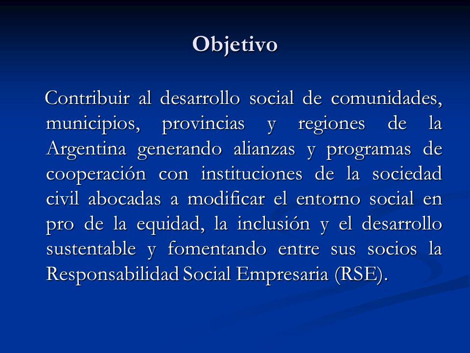 Objetivo Contribuir al desarrollo social de comunidades, municipios, provincias y regiones de la Argentina generando alianzas y programas de cooperaci