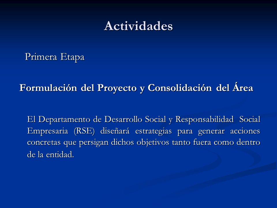 Actividades Primera Etapa Primera Etapa Formulación del Proyecto y Consolidación del Área Formulación del Proyecto y Consolidación del Área El Departa