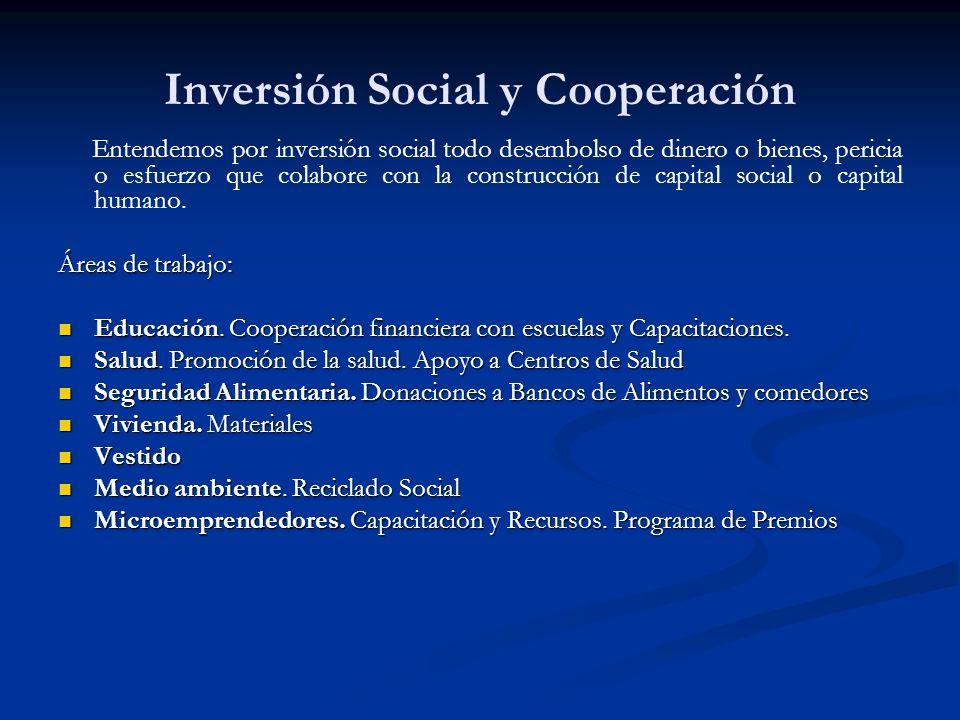 Inversión Social y Cooperación Entendemos por inversión social todo desembolso de dinero o bienes, pericia o esfuerzo que colabore con la construcción