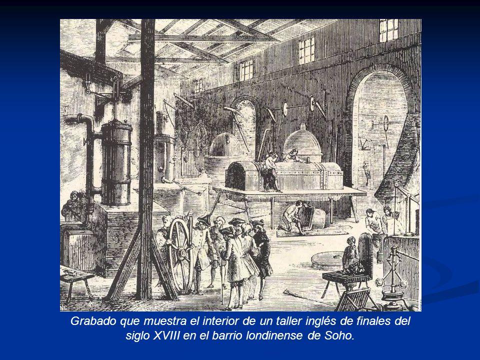 Grabado que muestra el interior de un taller inglés de finales del siglo XVIII en el barrio londinense de Soho.