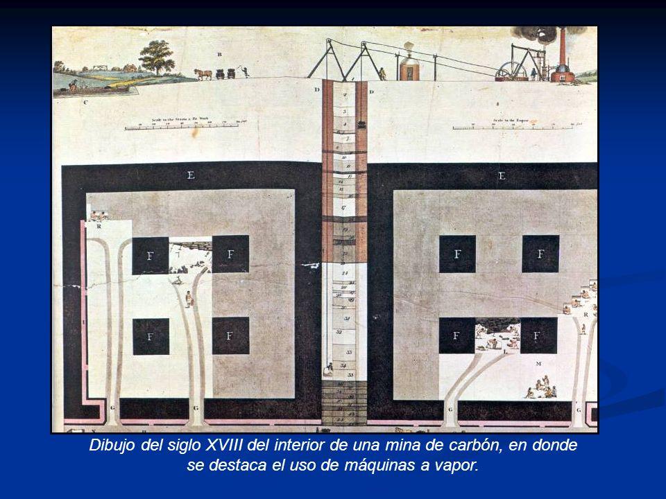 Dibujo del siglo XVIII del interior de una mina de carbón, en donde se destaca el uso de máquinas a vapor.