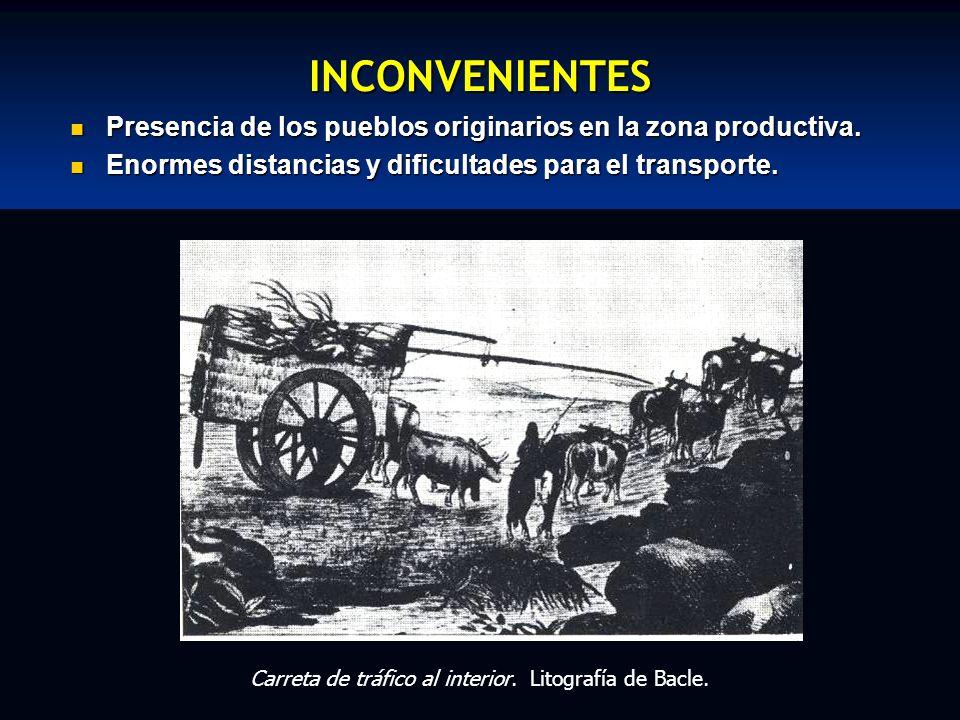 INCONVENIENTES Presencia de los pueblos originarios en la zona productiva. Presencia de los pueblos originarios en la zona productiva. Enormes distanc
