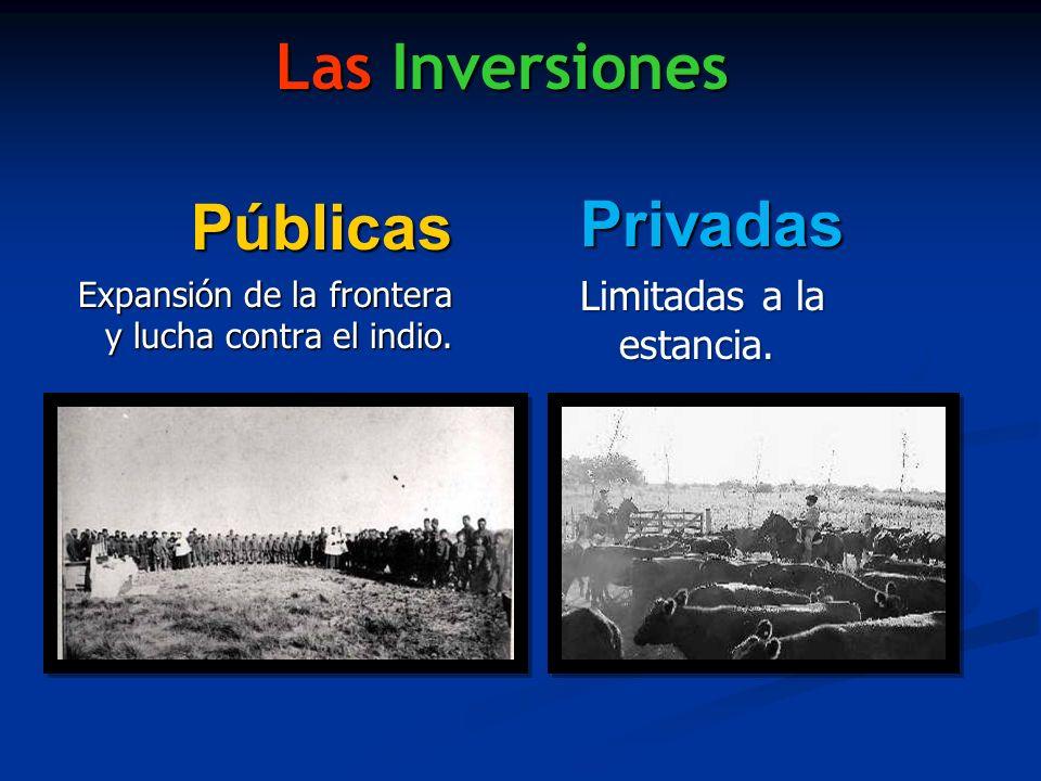 Las Inversiones Públicas Expansión de la frontera y lucha contra el indio. Privadas Limitadas a la estancia.