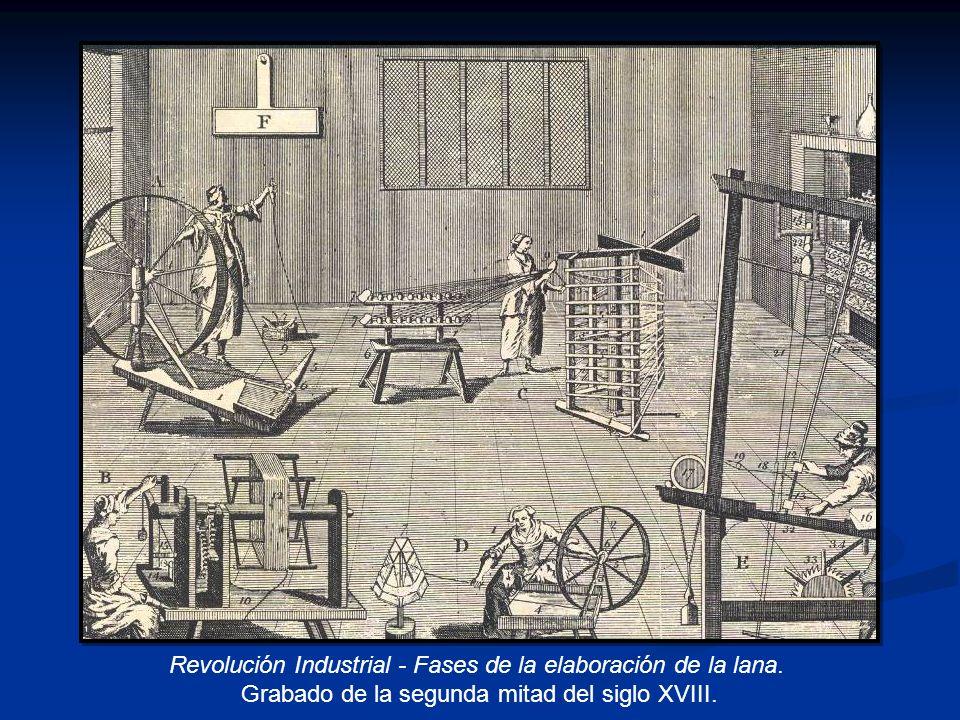 Revolución Industrial - Fases de la elaboración de la lana. Grabado de la segunda mitad del siglo XVIII.