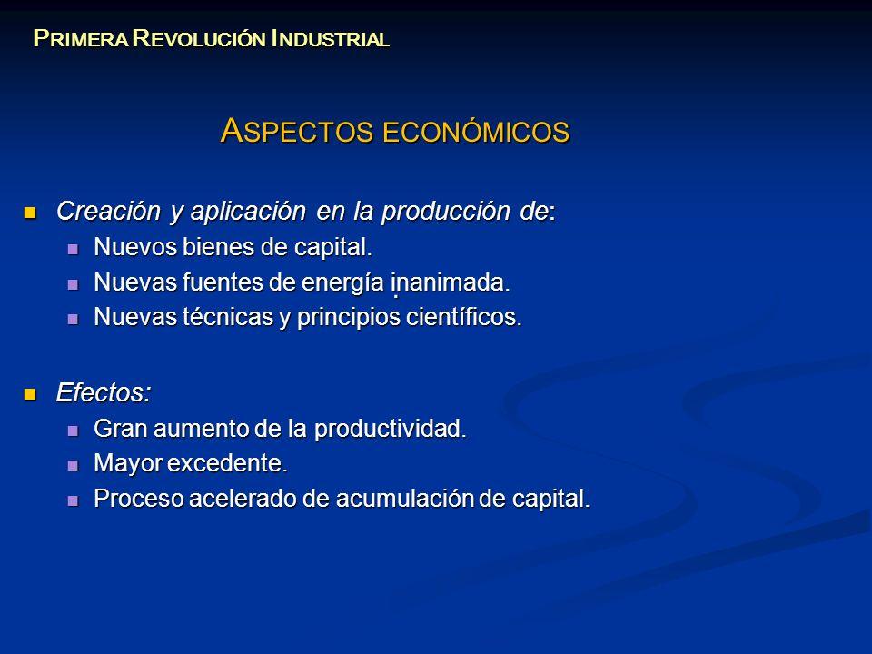 A SPECTOS ECONÓMICOS Creación y aplicación en la producción de: Creación y aplicación en la producción de: Nuevos bienes de capital. Nuevos bienes de