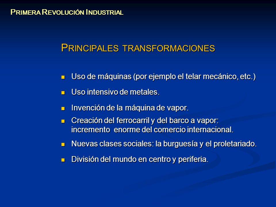 P RINCIPALES TRANSFORMACIONES Uso de máquinas (por ejemplo el telar mecánico, etc.) Uso de máquinas (por ejemplo el telar mecánico, etc.) Uso intensiv