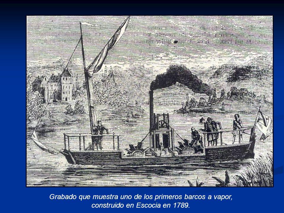 Grabado que muestra uno de los primeros barcos a vapor, construido en Escocia en 1789.